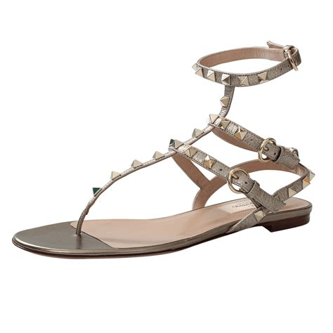 valentino sandals sale valentino rockstud leather sandals in beige alba lyst