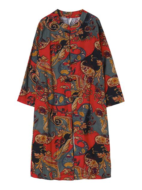 vintage pattern jacket vintage women chinese frog pattern printed trench coat