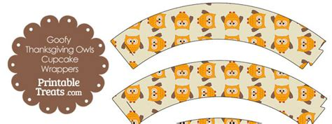 free printable owl cupcake wrappers goofy thanksgiving owls cupcake wrappers printable