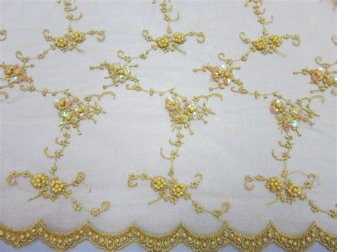 beaded lace gold mesh with embroidery beaded lace with sequins fabric