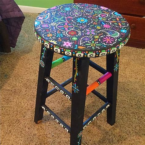 Brandy Melville Home Decor 83 Off Other Hand Painted Boho Wooden Stool Colorful