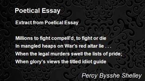Shelley Poetical Essay by Poetical Essay Poem By Percy Bysshe Shelley Poem Comments
