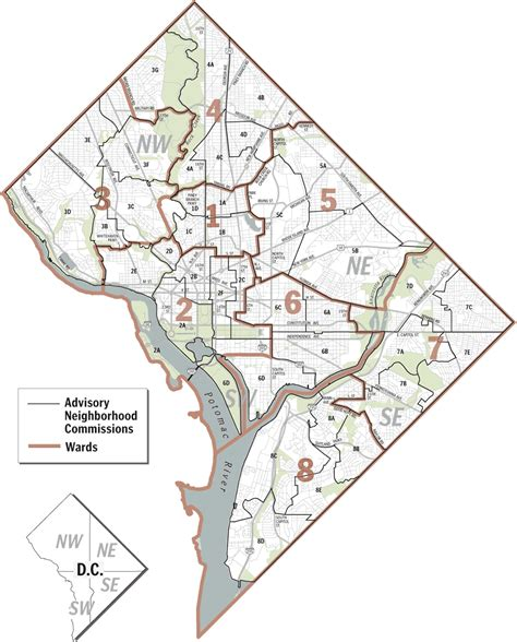 washington dc map of wards the guide d c advisory neighborhood commissions and