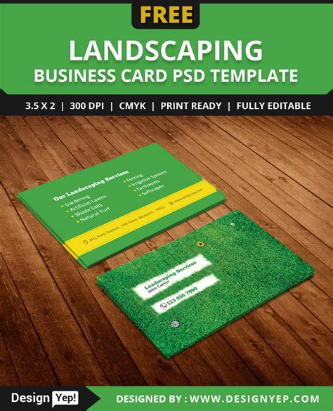 Landscape Business Cards Design Templates by Free Landscaping Business Card Template Psd On Behance
