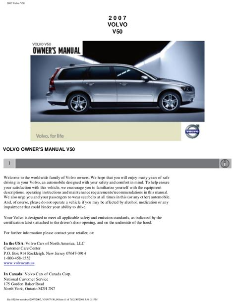 service repair manual free download 2007 volvo v50 electronic valve timing volvo v50 owners manual 2007