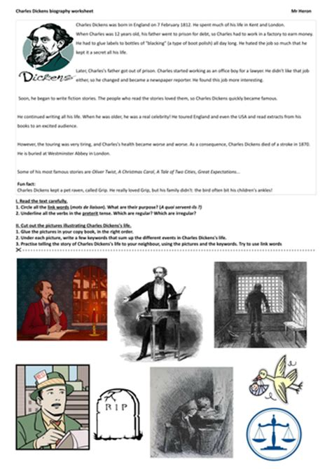 Charles Dickens Biography Middle School | charles dickens biography worksheet by justtheash