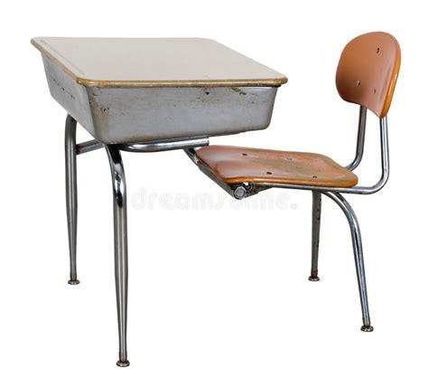 retro school desk isolated on white stock image