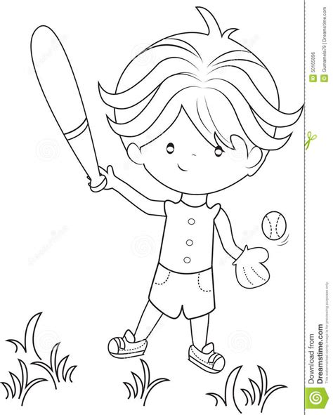 coloring page of boy playing baseball boy playing baseball coloring page stock illustration