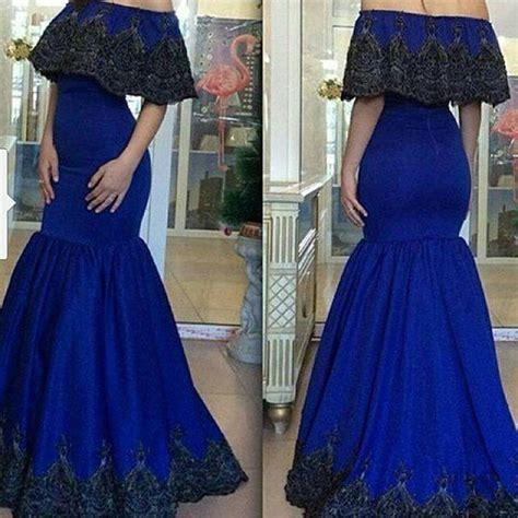 Larissa Kaftan Black modern royal blue evening dresses gowns shoulder 2015