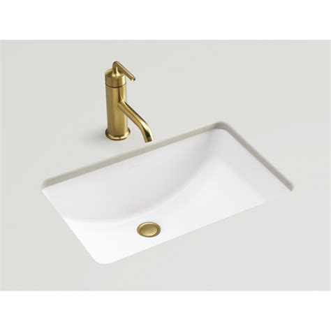 rectangular undermount bathroom sinks shop kohler ladena honed white undermount rectangular