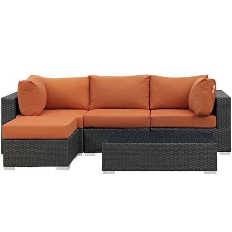 sunbrella sectional modway sojourn 5 piece outdoor patio sunbrella sectional