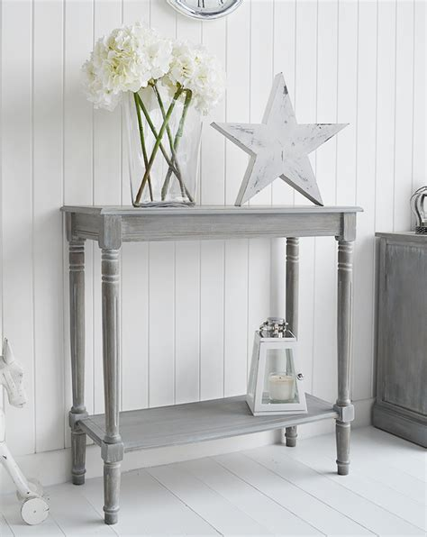 British colonial furniture range in grey console table from the white lighthouse