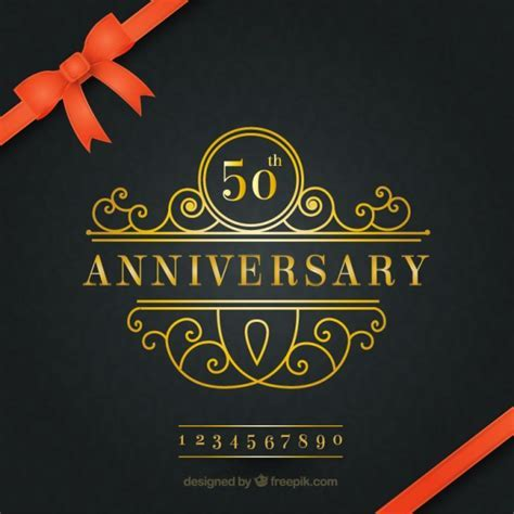 Golden anniversary elegant background Vector   Free Download