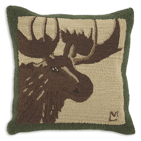great moose hooked wool pillow