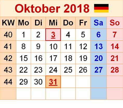 Kalender 2018 Zum Ausdrucken Und Bearbeiten Kalender Oktober 2018 Zum Ausdrucken Pdf Excel Word