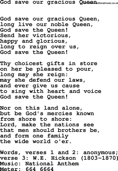 Full Version God Save Queen Lyrics   hymns ancient and modern song god save our gracious