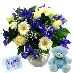 Glass Flower Vase Baby Boy Flower Gift Set Free Delivery