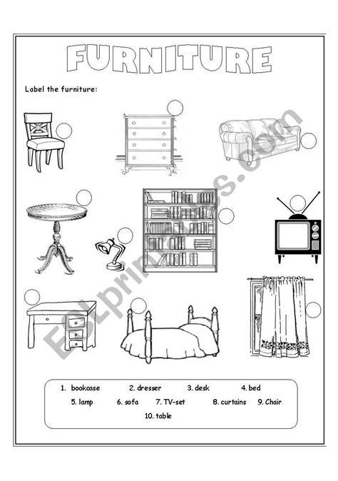 furniture esl worksheet  christofor