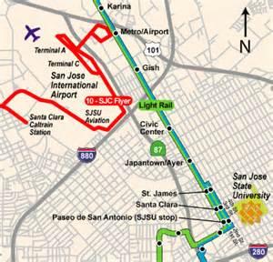 San Jose Vta Map by San Jose International Airport Sjc