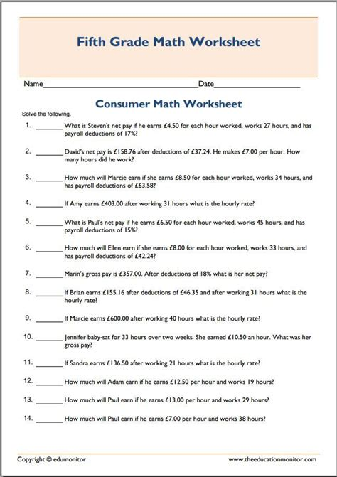 consumer math worksheets for high school 81 best images about fifth grade worksheets on 5th grade math grade