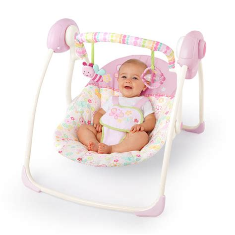 bright stars baby swing bright starts pretty in pink flutter dot portable swing