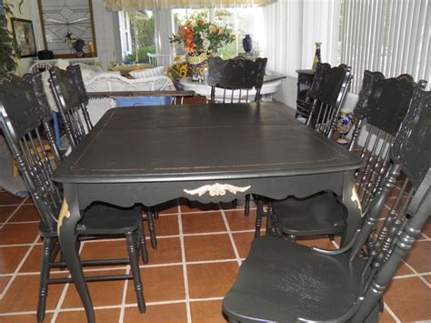Craigslist Dining Room Table And Chairs Found The Dining Room Table On Craigslist And The 6 Chairs At A Garage Sale Painted Everything