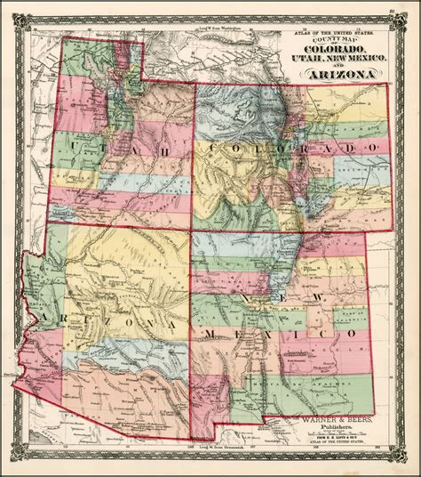 map of new mexico and colorado county map of colorado utah new mexico and arizona
