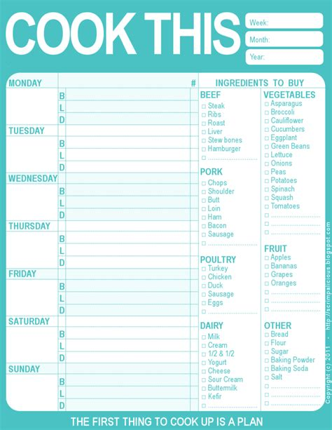 printable meal planning menu the creative cubby pinspiration friday new year organization