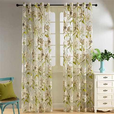 Tropical Kitchen Curtains Aliexpress Buy Top Finel Tropical Floral Semi Sheer Curtains For Living Room Bedroom