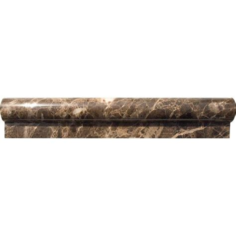 ms international emperador 2 in x 12 in polished marble rail molding wall tile thdw1 mr emp