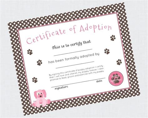 Printable Puppy Adoption Certificate