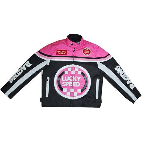Kinder Motorradbekleidung by Germas Lucky Speed Motorrad Kinderjacke Schwarz Pink