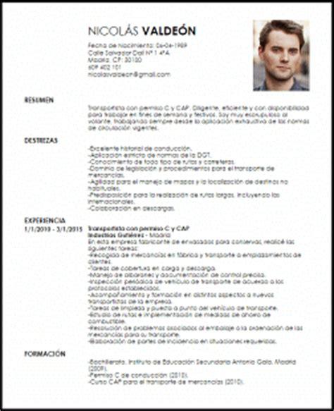 Modelo De Curriculum Vitae Con Licencia De Conducir Modelo Curriculum Vitae Transportista Con Permiso C Y Cap Livecareer