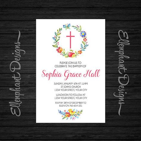 spring wreath first holy communion invitations baptism invitation christening first communion