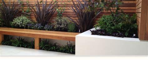 Design Garden contemporary garden design with hardwood bench horizontal