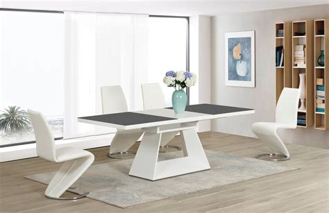 White High Gloss Grey Glass Ex Dining Table And 4 White Z High Gloss Dining Table Sets