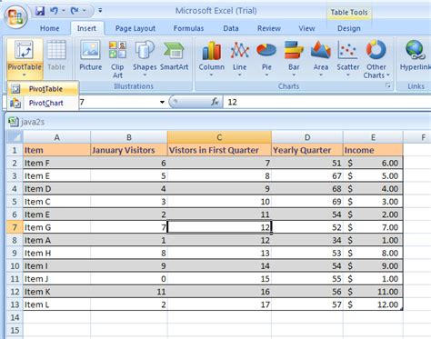 format report pivot table excel 2007 create a pivottable or pivotchart report pivottable