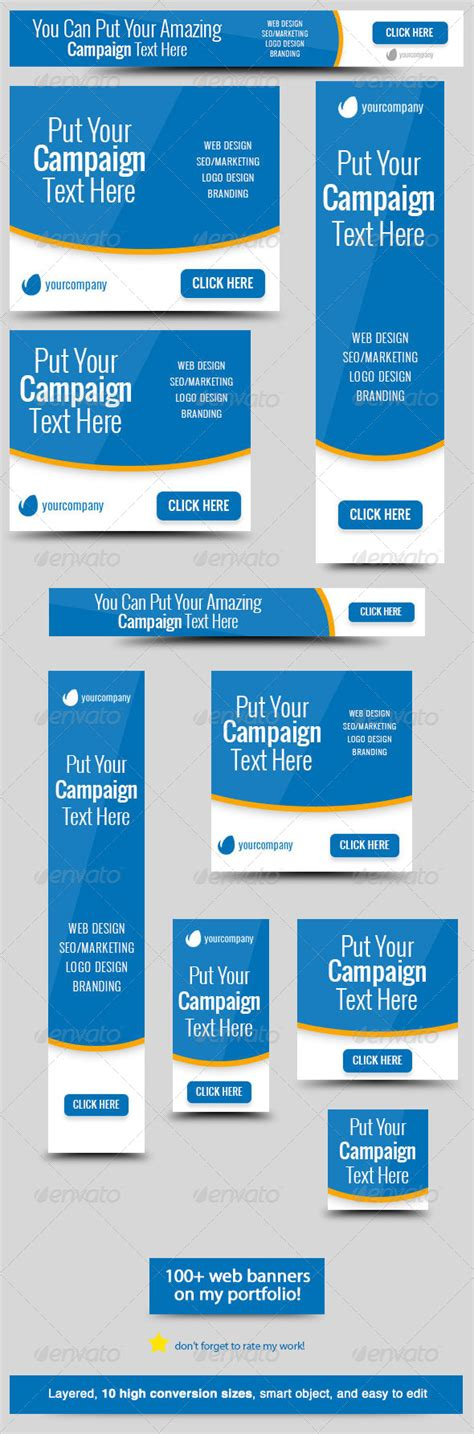 Bluestatic Web Banner By Admiral Adictus Graphicriver Website Advertisement Template