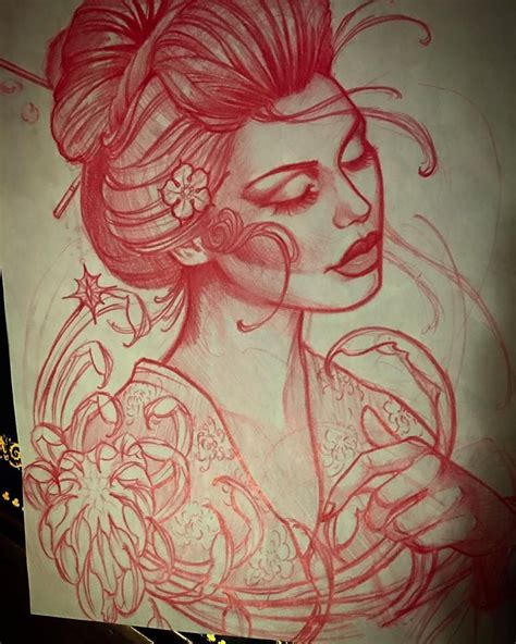 geisha tattoo instagram geisha sketch for todays tattoo instagram