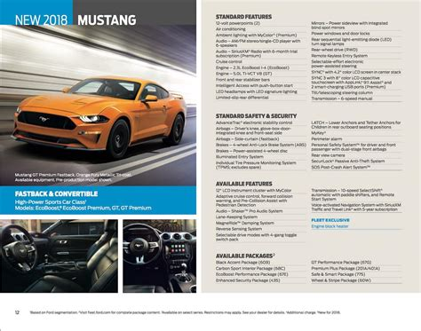 ford brochures 2018 ford mustang brochure reveals new features and options