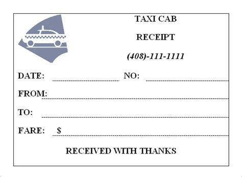 Atlanta Taxi Receipt Template by Taxi Receipt