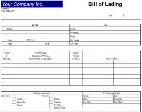 excel bill of lading template