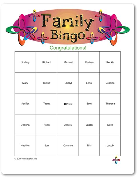 printable games for family printable family bingo games pinterest family reunions