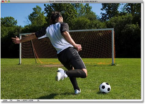 Soccer Kicking Net outlining the photoshop tutorial