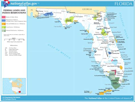 florida in usa map map of florida map federal lands and indian reservations