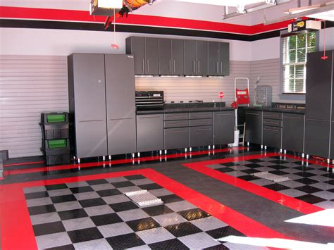 black and gray painted color harley davidson garage after makeover with modern steel cabinet