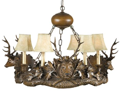 Rustic Chandeliers Black Forest Three Small Stag Heads Forest Chandelier