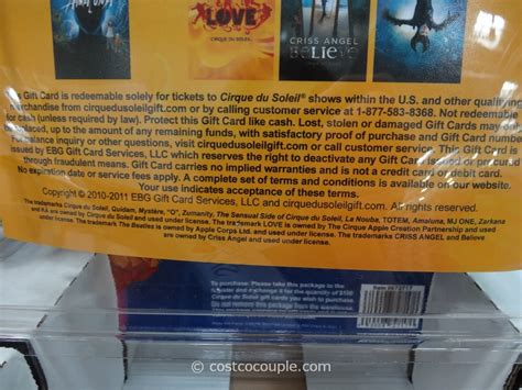 Gift Cards Available At Costco - cirque du soleil discount gift cards