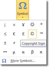 create a copyright symbol in word