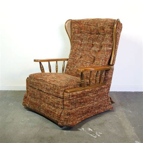 orange upholstered rocking chair late vintage 1960s early 1970s la z boy recliner with a